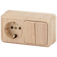 Intro Quadro Блок розетка с/з+выключатель 2кл сосна горизонтальный 2-702-11