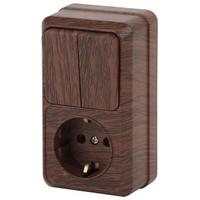 Intro Quadro Блок розетка с/з+выключатель 2кл венге 2-706-10