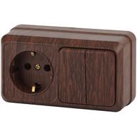 Intro Quadro Блок розетка с/з+выключатель 2кл венге горизонтальный 2-702-10