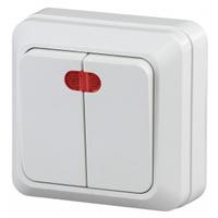 Intro Quadro Выключатель 2кл с подсветкой белый 2-105-01