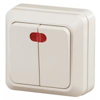 Intro Quadro Выключатель 2кл с подсветкой слоновая кость 2-105-02