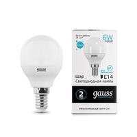 Лампа Gauss LED Elementary Шар 6W E14 450lm 4100K 53126