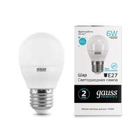 Лампа Gauss LED Elementary Шар 6W E27 450lm 4100K 53226