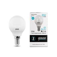 Лампа Gauss LED Elementary Шар 8W E14 540lm 4100K 53128