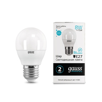 Лампа Gauss LED Elementary Шар 8W E27 540lm 4100K 53228