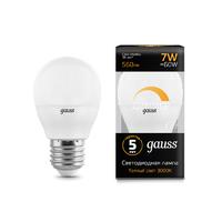 Лампа Gauss LED Шар-dim E27 7W 560lm 3000К диммируемая 105102107-D
