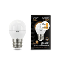 Лампа Gauss LED Шар E27 7W 520lm 3000K step dimmable 105102107-S