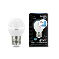 Лампа Gauss LED Шар E27 7W 550lm 4100K step dimmable 105102207-S