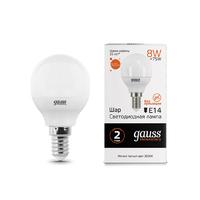 Лампа Gauss LED Elementary Шар 8W E14 520lm 3000K 53118