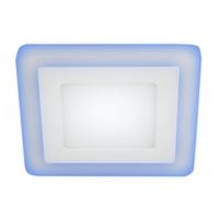 LED 4-6 BL Светильник ЭРА светодиодный квадратный c cиней подсветкой LED 6W   220V 4000K