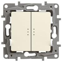 Legrand ETIKA Выключатель 2кл. прох. с подсв. крем механизм 672316