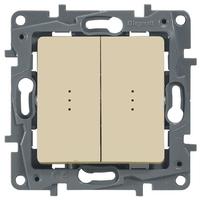 Legrand ETIKA Выключатель 2кл. с подсв. крем механизм 672304