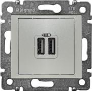 Legrand Valena Розетка USB 2-ая Алюминий 770270