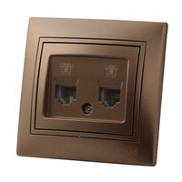 Lezard MIRA розетка Компьютерная 2-я Светло-коричневый металлик 3131-141