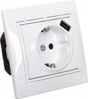 Lezard MIRA розетка с/з + USB разъем белая 0202-181