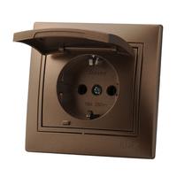 Lezard MIRA розетка с/з cо шторкой Светло-коричневый металлик 3131-124