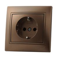 Lezard MIRA розетка с/з Светло-коричневый металлик 3131-122