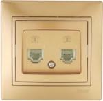 Lezard MIRA розетка Телефонная двойная Золото 1313-138