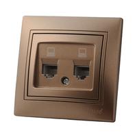 Lezard MIRA розетка Телефонная 2-я Светло-коричневый металлик 3131-138