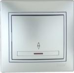 Lezard MIRA выключатель 1 кл. проходной с подс. Серебро 1010-114