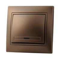Lezard MIRA выключатель 1 кл. с подс. Светло-коричневый металлик 3131-111