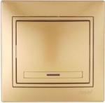 Lezard MIRA выключатель 1 кл. с подс. Золото 1313-111