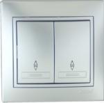 Lezard MIRA выключатель 2 кл. проходной Серебро 1010-106