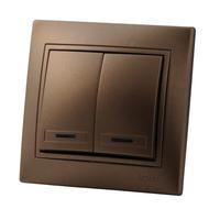 Lezard MIRA выключатель 2 кл. с подс. Светло-коричневый металлик 3131-112