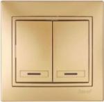 Lezard MIRA выключатель 2 кл. с подс. Золото 1313-112