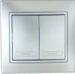 Lezard MIRA выключатель 2 кл. Серебро 1010-101