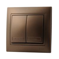 Lezard MIRA выключатель 2 кл. Светло-коричневый металлик 3131-101