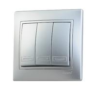 Lezard MIRA выключатель 3 кл. Серебро 1010-109