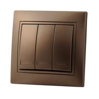 Lezard MIRA выключатель 3 кл. Светло-коричневый металлик 3131-109
