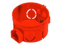 Подрозетник красный в бетон с ушками (d-68,h-40)