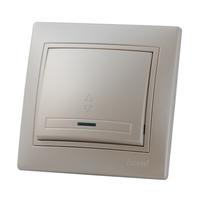 Lezard MIRA выключатель 1 кл. проходной с подс. Жемчужно-белый металик 3030-114