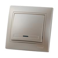 Lezard MIRA выключатель 1 кл. с подс. Жемчужно-белый металик 3030-111