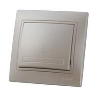 Lezard MIRA выключатель 1 кл. проходной Жемчужно-белый металик 3030-105