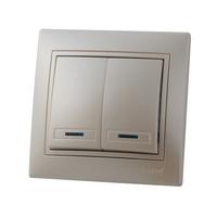 Lezard MIRA выключатель 2 кл. с подс. Жемчужно-белый металик 3030-112