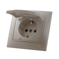 Lezard MIRA розетка с крышкой Жемчужно-белый металлик 3030-123