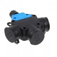 T-Plast разъем тройной каучуковый с заземлением с заглушками однофазный IP44 черный 31.01.314.0300