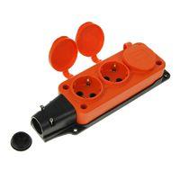 T-Plast розетка трехместная с заглушками каучук IP44 оранжевая 31.01.308.2300