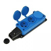 T-Plast розетка трехместная с заглушками каучук IP44 синяя 31.01.308.0900