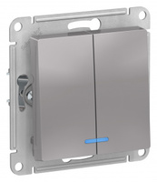 Schneider Electric ATLAS DESIGN 2-кл ВЫКЛЮЧАТЕЛЬ с подсветкой, сх.5а, 10АХ, механизм, АЛЮМИНИЙ ATN000353