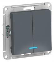 Schneider Electric ATLAS DESIGN 2-клавишный ВЫКЛЮЧАТЕЛЬ с подсветкой, сх.5а, 10АХ, механизм, ГРИФЕЛЬ ATN000753