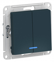 Schneider Electric ATLAS DESIGN 2-клавишный ВЫКЛЮЧАТЕЛЬ с подсветкой, сх.5а, 10АХ, механизм, ИЗУМРУД ATN000853