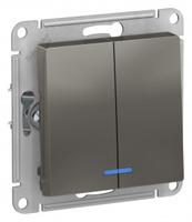 Schneider Electric ATLAS DESIGN 2-клавишный ВЫКЛЮЧАТЕЛЬ с подсветкой, сх.5а, 10АХ, механизм, СТАЛЬ ATN000953