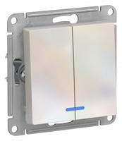 Schneider Electric ATLAS DESIGN 2-клавишный ВЫКЛЮЧАТЕЛЬ с подсветкой, сх.5а, 10АХ, механизм, ЖЕМЧУГ ATN000453