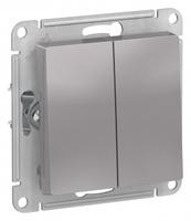 Schneider Electric ATLAS DESIGN 2-клавишный ВЫКЛЮЧАТЕЛЬ, сх.5, 10АХ, механизм, АЛЮМИНИЙ ATN000351