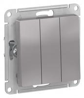 Schneider Electric ATLAS DESIGN 3-клавишный ВЫКЛЮЧАТЕЛЬ, сх.1+1+1, 10АХ, механизм, АЛЮМИНИЙ ATN000331