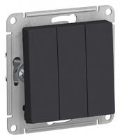 Schneider Electric ATLAS DESIGN 3-клавишный ВЫКЛЮЧАТЕЛЬ, сх.1+1+1, 10АХ, механизм, КАРБОН ATN001031